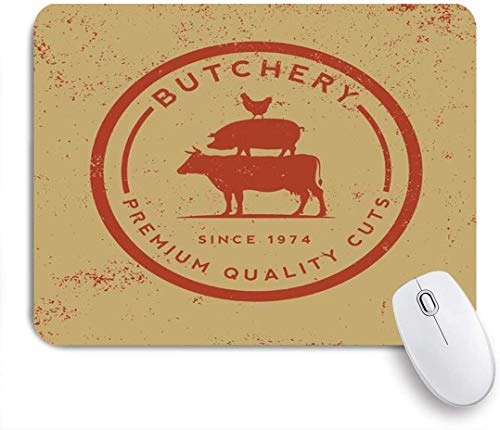 YOLIKA Gaming Mouse Pad,Restaurant Butchery Organic Label On Old Emblem Grunge Food Pig Farm Insignia,Non-Slip Rubber Base,Desk Mat for Office and Home,9.5 x 7.9in