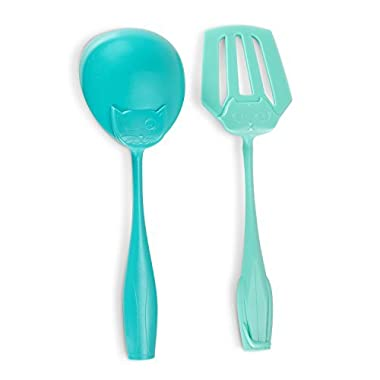2-Piece Kitchen Utensils Set Soup Ladle and Slotted Turner (Cats Face) Unique Home Cookware with Wide-Grip Handles – Heat Resistant, Non-Stick Nylon, Dishwasher Safe – Aqua Blue - Mother Day Gift