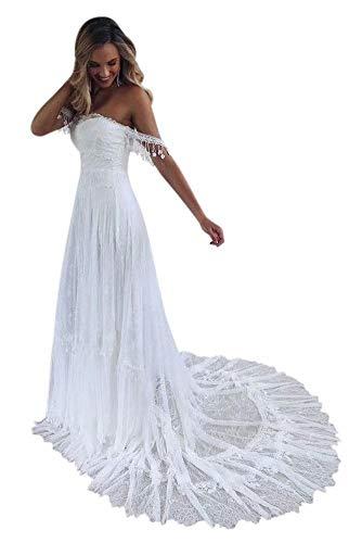 QueenBridal A-Linie Retro Spaghetti-Träger Sweetheart Spitze Brautkleid Strand Hochzeitskleid QU188 - Weiß - 36