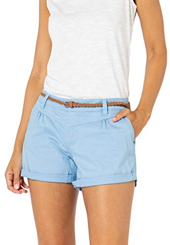 Sublevel Damen Kurze Hose Stretch-Shorts mit Flecht-Gürtel Light-Blue XL