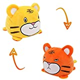 Double-Sided Flip Small Stuffed Animal Flip Doll Cute Toys for 6+ Kids Show Happy-Angry Stress Relief Toy for Adults (Tiger)
