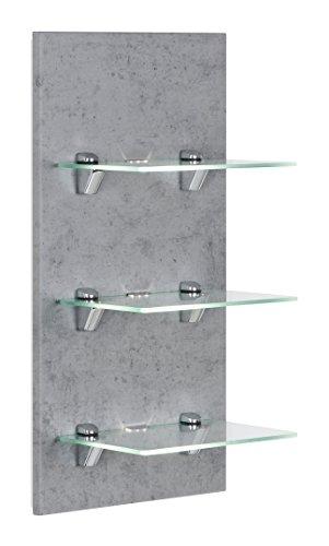 Posseik - Mobili da bagno serie VIVA, pannello a LED in cemento, mensola da parete con ripiani in vetro + illuminazione (larghezza/altezza/profondità) 35 x 68 x 32 cm