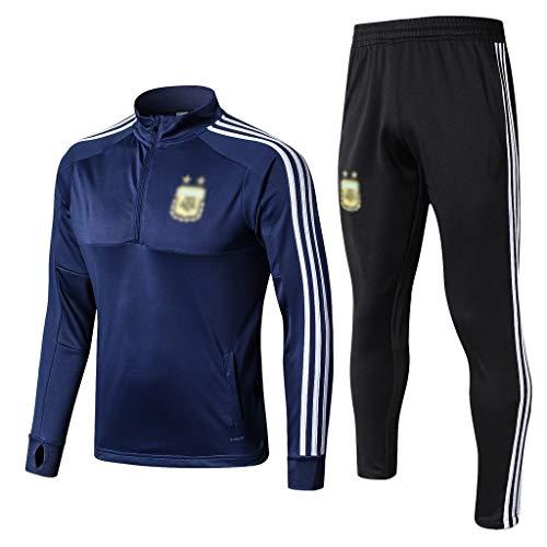 European Football Club Männer Fußball Sweatshirt Langarm Frühling und Herbst Breathable Sport Blau Trainings-Uniform (Top + Pants) -ZQY-A0581 (Color : Blue, Size : S)