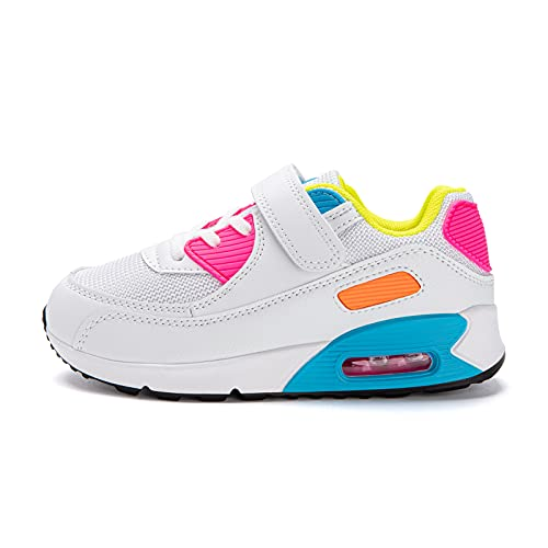 Sneakers Bambino Scarpe da Ginnastica Bambina Unisex Scarpe Tennis Strappo Sportive Running Colorate Bianco Rosa Taglia29 EU