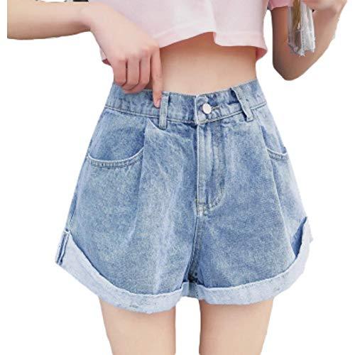 Pantalones Cortos de Cintura Alta para Mujer Moda Relajada Tendencia Informal Crimpin Pantalones Cortos de Mezclilla de Pierna Ancha Regulares Simples con Botones L