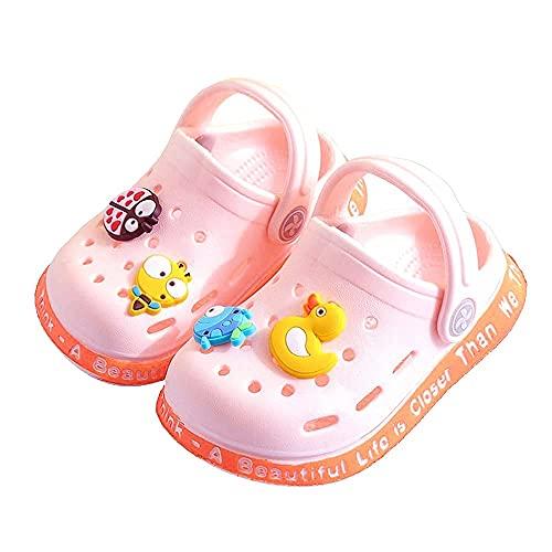 JUXI Toddler Clogs Baby Boys Girls Cute Cartoon Toddler Sandals Kids Slippers (Pink, Numeric_5)