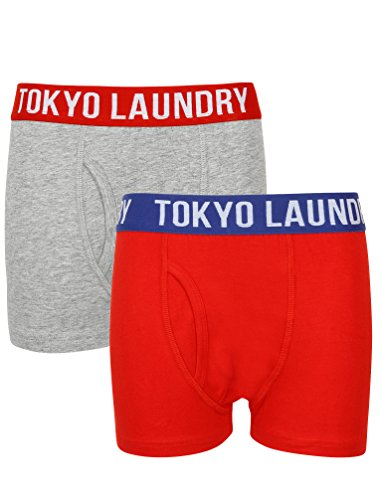 Boys Alton Boxer Shorts in Lt Grey Marl & Tokyo Red - Tokyo Laundry-6-7 Years