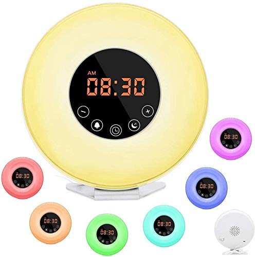 Wake Up Light Alarm Clock, [2020 Upgraded] Digital Alarm Clock with Sunrise Simulation, 7 Colors Night Light, 6 Nature Sounds, FM Radio for Bedrooms, Heavy Sleepers, Kids, Best Gift