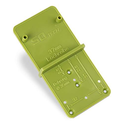 SO-TECH® Bohr-Schablone EasyGreen Bohrlehre für Topflochbohrungen Ø 26 und 35 mm, 32er Lochreihen und Exzenter Verbindungsbeschläge