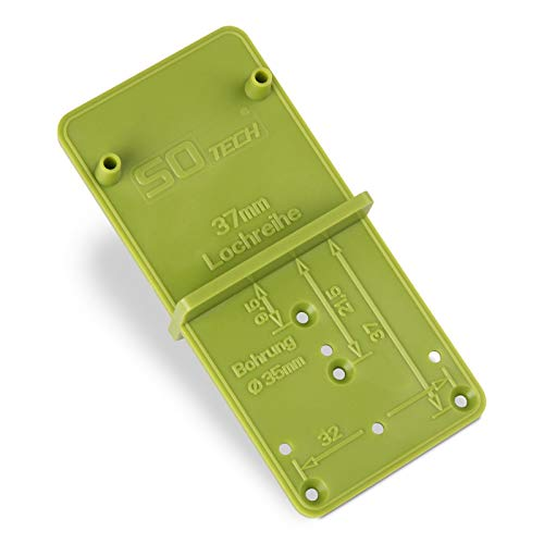 2 Stück SO-TECH® Bohrlehren EasyGreen Bohrschablonen für Topfbohrungen Ø 26 und 35 mm, 32er Lochreihen und Exzenter Verbindungsbeschläge