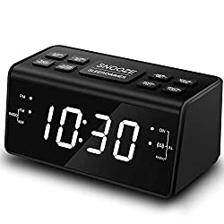 Alarm Clock, Alarm Clocks for Bedrooms with AM/FM Radio,Dimmer,Snooze,Battery Backup(248White)