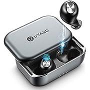 Wireless Earbuds, Utaxo Bluetooth 5.0 in-Ear Stereo Headphones with 100Hours Playtime, 2200mAh Slide Aluminum Charging Case, IPX7 Waterproof TWS Stereo Headphones, Built-in Mic Single/Twin Mode
