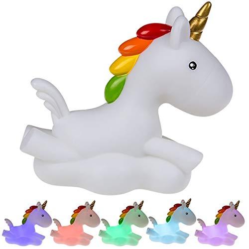 Ootb Noche de plástico, Unicornio con luz LED cambiacolor, Multicolor