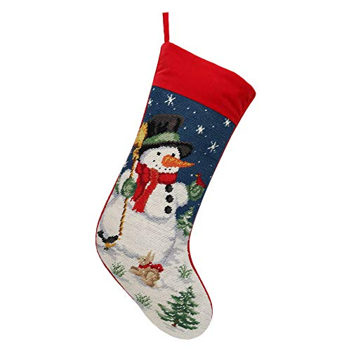 "Alice Doria 21"" Needlepoint Christmas Stocking with Snowman Pattern"