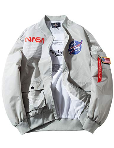 Men's NASA MA-1 Bomber Flight Zip Up Jacket Windbreaker Coat - Gray Color (1,L)