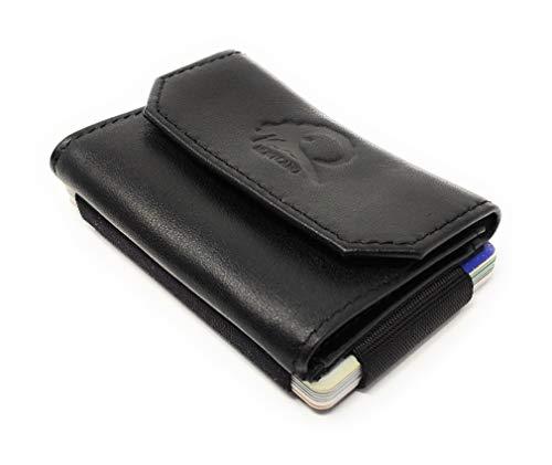 Cartera pequeña con Monedero y Billetero, de la Marca Montcaro. Hecha a Mano con Piel y Materiales de Primera Calidad - con protección RFID/NFC Anti Copia para Tarjetas de crédito.