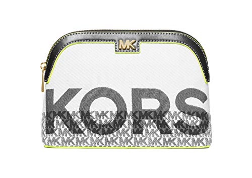 Michael Michael Kors Women`s Carolina Large Graphic Logo Jacquard Travel Pouch (One Size, Neon
