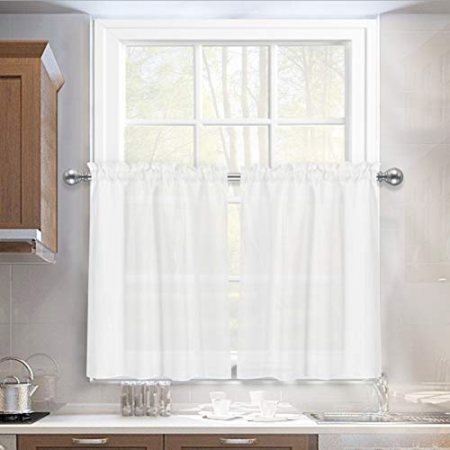 Melodieux White Semi Sheer Tier Curtains 36 Inch Length for Kitchen Cafe Bedroom Small Windows, Linen Look Rod Pocket Short Curtain Tiers Voile Drapes, 2 Panels