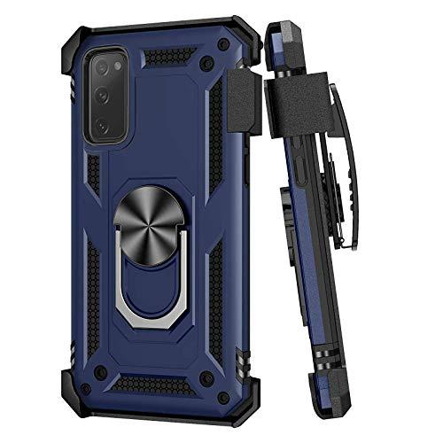 Schutzhülle für Samsung Galaxy S20 FE 5G, mit Gürtelclip, Militärqualität, Fallschutz, Schutzhülle, Gürtelclip, Holster und magnetischer Ringhalter, 360 Grad drehbarer Ständer für Galaxy S20 FE 5G, Blau