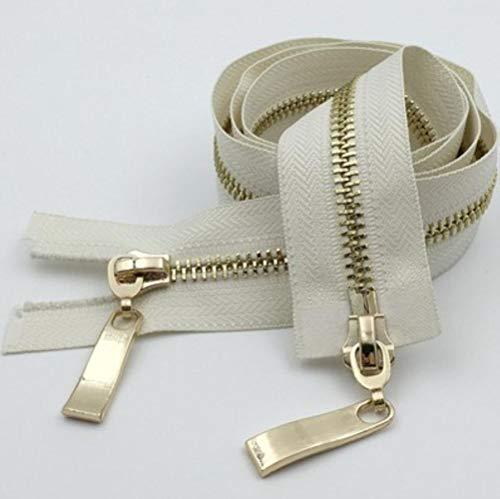 80/100/120 CM Deslizadores dobles Cremallera Metal Cremallera de dientes de oro claro para abrigo Chaqueta Cremallera Accesorios de ropa Alta calidad D680-beige, 5#, 100CM