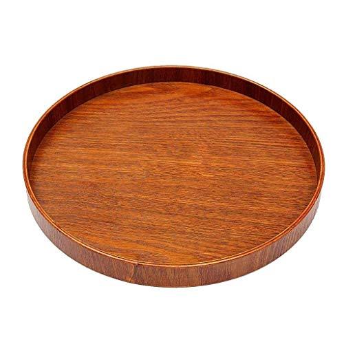 Vassoio rotondo in legno, vassoio da portata per insalata, frutta secca, resistente da trasportare e ampia gamma di applicazioni, colore: marrone