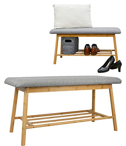 DuneDesign Nordic Sitzbank mit Schuhregal - 90x34x44 Bambus Schuhbank Holz Bank für Flur Garderobe