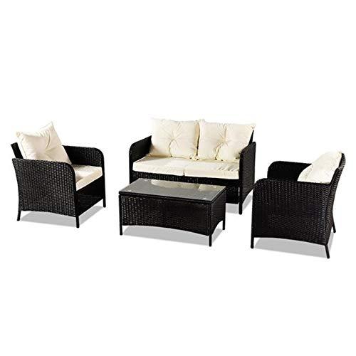 LZZJ Combinación de sofá de Ocio Exterior Juego de Cuatro Piezas: Paquete Negro-1 (Cuadros de combinación número 2)