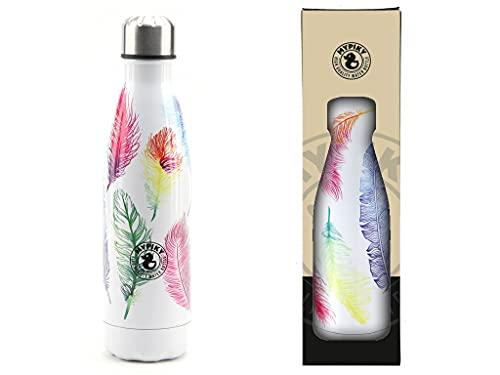 Mypiky - Botella de 500 ml de acero inoxidable de alta calidad de doble pared y cierre hermético, diseño de plumas (MP30 unidades)