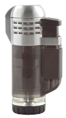 Xikar Tech Triple Jet Flame Lighter, Oversized Adjustment Wheel, Large Fuel Tank, Ergonomic Design, Transparent Black