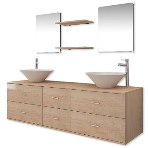 vidaXL Set Muebles para Baño con Lavabo y Grifo Incluido Pack 9 Unidades Beige