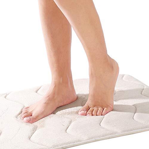 EFORPAD Memory Foam Bath Mat, 20 x 32 Inch, Non Slip Bathroom Rugs, Super Soft Absorbent Carpet Pad for Kitchen Bathroom Toilet Floors(Beige)