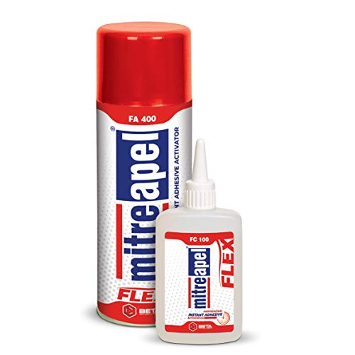 MITREAPEL Super Flex CA Glue (3.5 oz) with Spray Adhesive Activator (13.5 fl oz) Crazy Craft Glue for Wood, Plastic, Metal, Leather, Ceramic-Cyanoacrylate Glue for Crafting and Building, 1 Pack