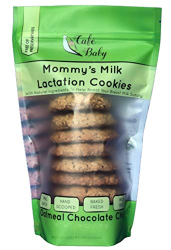 Lactation Cookies — Oatmeal Chocolate Chip By Cafe Baby. Lactation Supplement Made With Brewers Yeast & Organic Flaxseed Meal To Promote Increased Breastmilk Supply For Breastfeeding Moms. (1 bag).