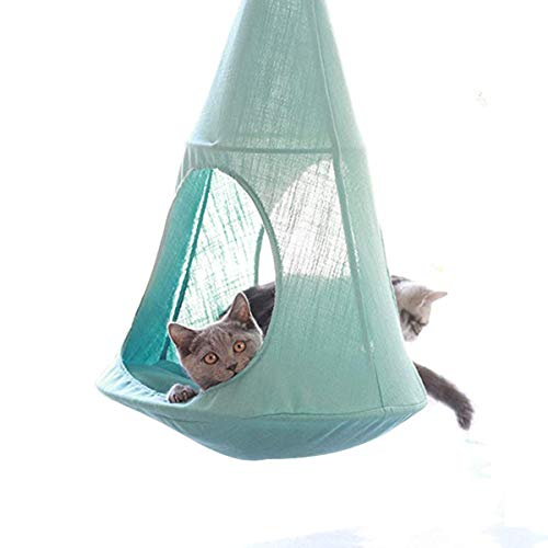 ALXDR Hamaca para Gatos Colgante Tipo Cama para Gatitos Ropa de Cama para Mascotas Desmontable Sling desván Multiuso Multi-usoage para la Vida de Verano, Mint Green