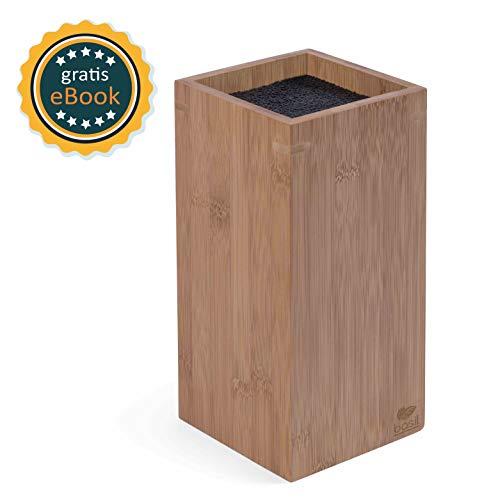 BASIL | Bamboe messenblok zonder vulling met zacht borstelinzetstuk | houten messenhouder & universeel houten blok voor het opbergen van messen | kunststof borstelharen | messen | geurvrij & vaatwasmachinebestendig