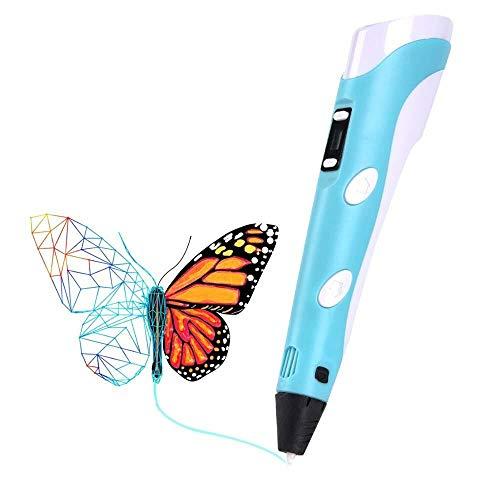 Temperature Control 3D-Pen Professionelle Doodler Pen 3D-Feder mit LED-Anzeige mit Speed 3 Farbe PLA Filament Refills Arts and Crafts for Kinder und Erwachsene