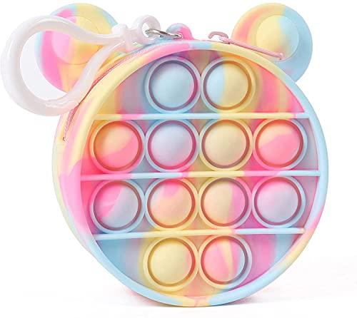 WANSHI Monederos de juguete fidget | Linda burbuja monedero monedero con cremallera bolsa portátil monedero para tarjetas de crédito ID llaves de lápiz labial (Macaron Mickey)