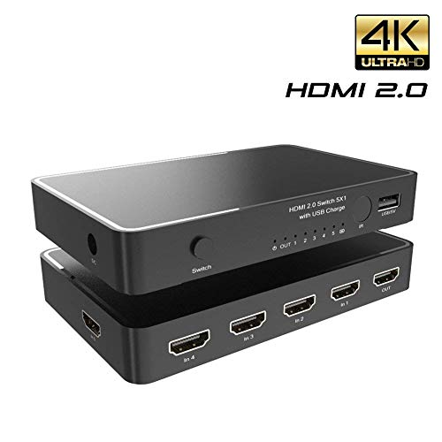 Conmutador HDMI 2.05x 1enklen Conmutador HDMI 4K x 2K/60Hz Control Remoto por Infrarrojos, Soporte UHD CEC HDR, HDMI 2.0, HDCP 2.2, Full HD/3d, 1080p, DTS/Dolby (5in1out)