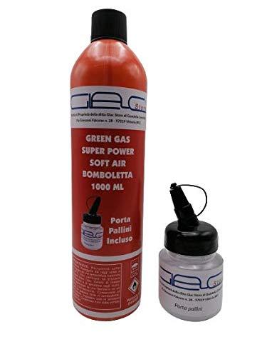 Glac Store® Bomboletta Bombola Green Gas per Softair da 1000 ML Soft Air Valvola Universale Potente con Porta Pallini Incluso