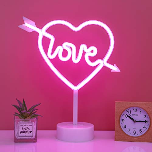 Cupid Bow Neon Light Sign - LED Pink Cupid's Bow Shape Decorative Lights with Stand Base Battery Powered/USB - Deco of Children's Room, Bedroom, Living Room, Party Wedding and Christmas
