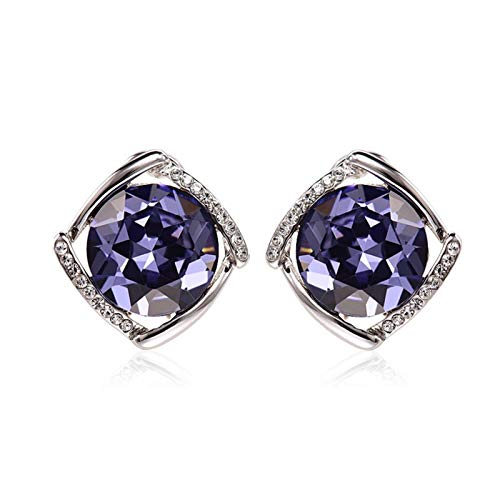 LDH Pendientes De Personalidad Simples Fashion Wild Crystal Pendientes Temperamento Elegante Cubic Zirconia Stud Pendientes (Color : Púrpura)