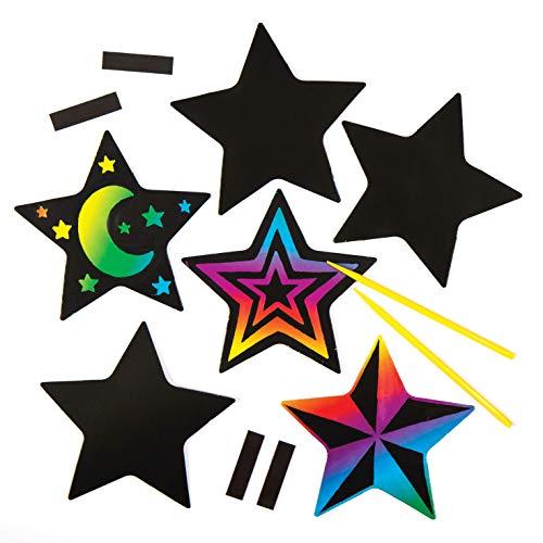 Baker Ross Bastelsets mit sternförmigen Kratzbild-Magneten für Kinder zum Basteln und Verzieren zu Weihnachten – Kreatives Bastelset für die Weihnachtszeit (10 Stück)