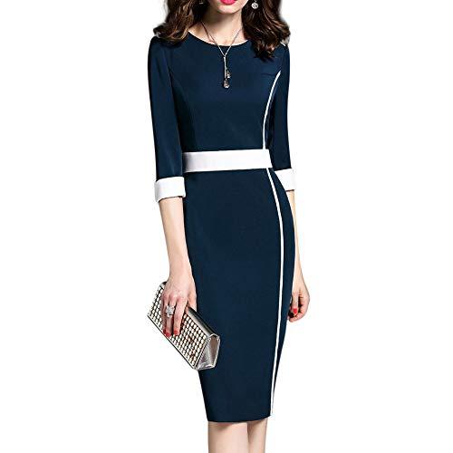 Aututer - Vestito da donna alla moda, da donna, casual, da ufficio, elegante, per banchetti, taglie forti 2020 blu navy XXL