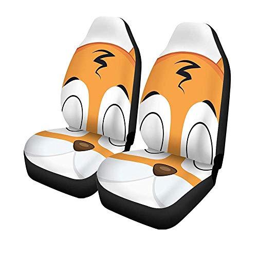 Set van 2 autostoelhoezen dier cartoon tijgermasker voor kinderen maskerade patroon kostuum universeel auto voorstoelen protector 14-17IN