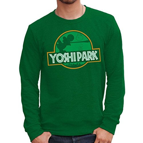 MUSH Felpa Girocollo Yoshi Jurassic Park - Games by Dress Your Style - Uomo-XL-Verde Bottiglia