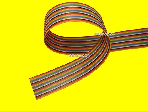 FLACHBANDKABEL 34-Adrig/Polig/Pin   Meterware (EUR 4,77/m)   FLACHBANDLEITUNG-AWG28 im 1,27mm-Raster (Pitch)   Farbige FBL/Rasterstegleitung IEC-Ader-Farbfolge   Flache, flexible, Band-Leitung/Kabel