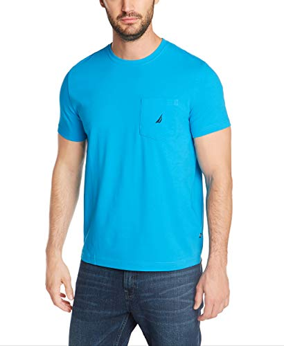 Nautica Men's Solid Crew Neck Short Sleeve Pocket T-Shirt, Hawaiian Ocean, X-Large