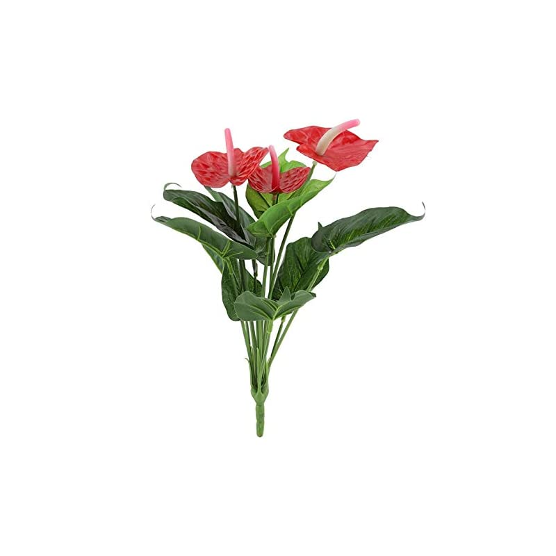 "silk flower arrangements artificial plants,13.8"" fake red anthurium flowers bouquet 12 heads decorative silk flower for wedding garden office verandah home decor"