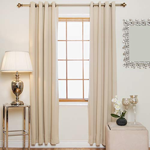 Blackout Curtain Beige Antique Brass Grommet Top Thermal Insulated 120 Inch Length Pair
