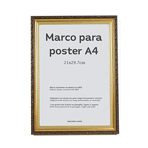 Nacnic - Marco Dorado con Filigrana (A4-21x29.7cm) para apoyar o Colgar en la Pared. Color Oro para Fotos, Diplomas, Dibujos.
